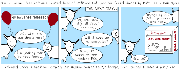The bi-annual free software related tales of Attitude Cat (and his friend Simon) by Matt Lee & Rob Myers